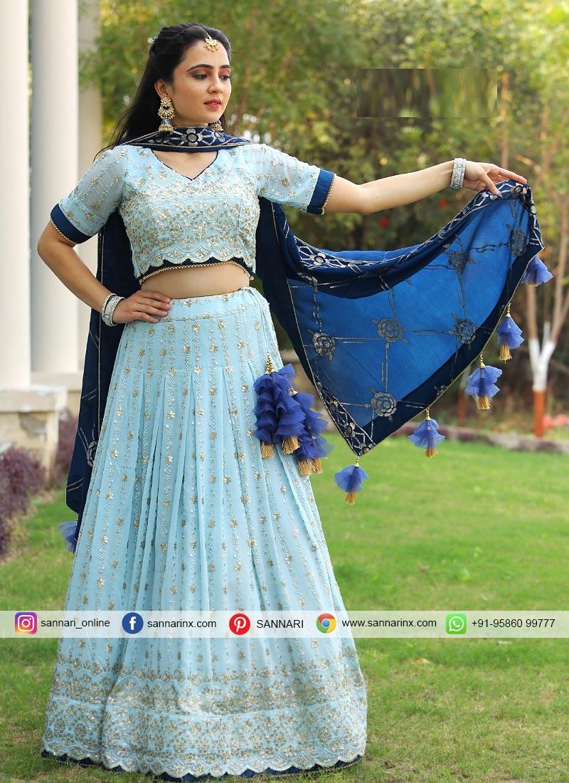 Groovy Chiffon Sequins Work Designer Readymade Lehngha Choli
