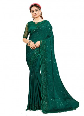 Groovy Green Embroidered Classic Designer Saree