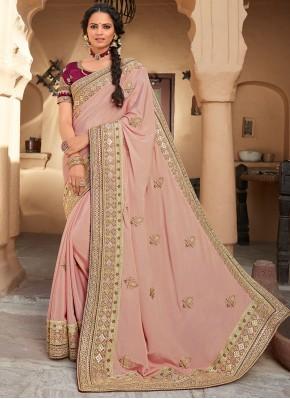 Groovy Silk Pink Designer Saree