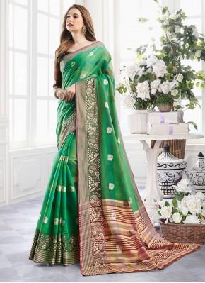 Handloom Cotton Green Zari Classic Designer Saree