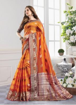 Handloom Cotton Orange Zari Designer Saree