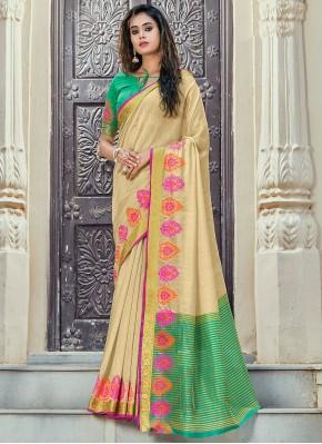 Handloom Cotton Woven Classic Saree in Beige