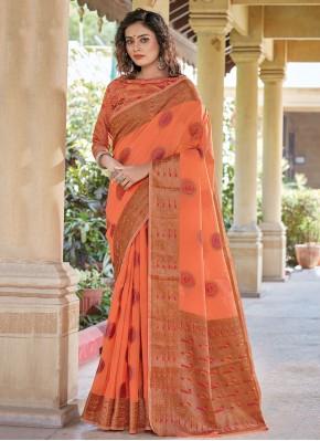 Handloom Cotton Woven Peach Trendy Saree