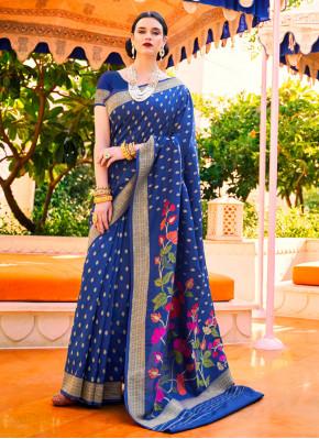 Handloom silk Blue Weaving Classic Saree