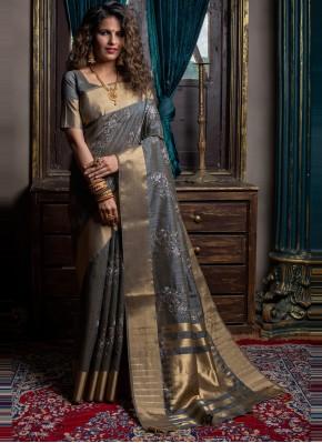 Handloom silk Fancy Grey Designer Traditional Saree