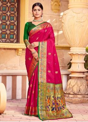 Handloom silk Rani Weaving Traditional Saree