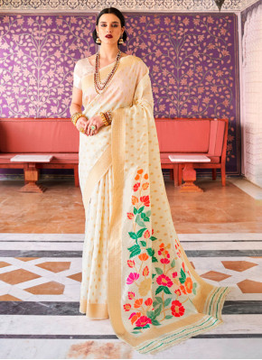 Handloom silk Weaving Cream Traditional Saree