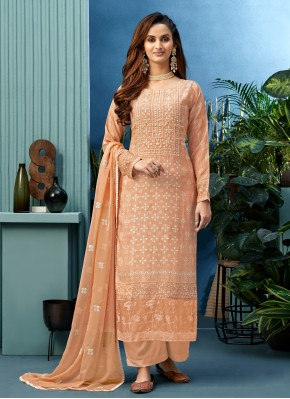Haute Embroidered Peach Designer Palazzo Salwar Suit
