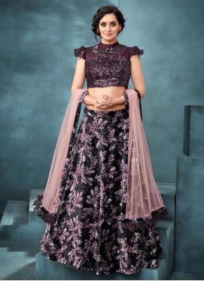 Haute Embroidered Velvet Trendy A Line Lehenga Choli