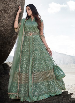 Haute Net Green Zari Lehenga Choli