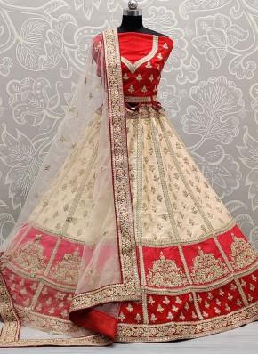 Haute Off White and Red Silk Lehenga Choli