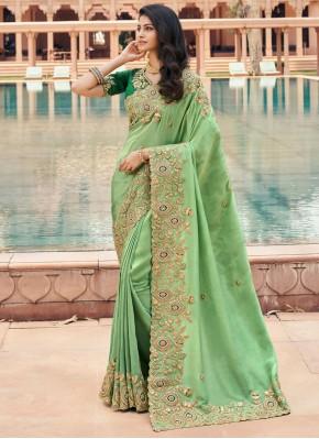 Haute Resham Georgette Green Classic Saree