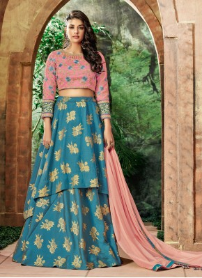 Heavenly Embroidered Art Silk Blue Lehenga Choli