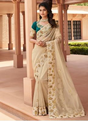 Heavenly Embroidered Cream Georgette Trendy Saree
