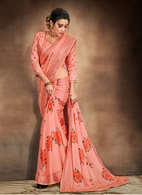 Heavenly Embroidered Orange Satin Printed Saree