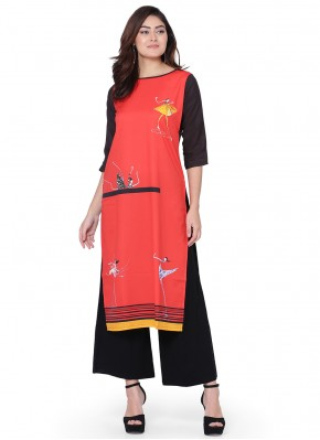 Heavenly Faux Crepe Print Red Party Wear Kurti