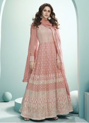 Heavenly Georgette Peach Embroidered Trendy Anarkali Salwar Kameez