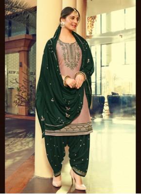 Heavenly Print Peach Cotton Silk Patiala Suit