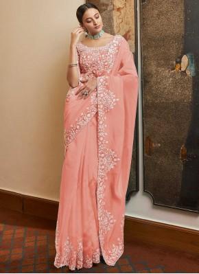 Heavenly Sequins Pink Organza Designer Traditional Saree
