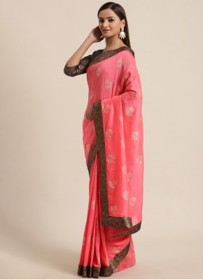Heavenly Silk Pink Foil Print Traditional Saree