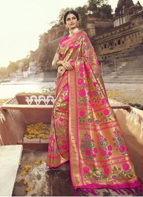 Heavenly Weaving Banarasi Silk Rani Designer Traditional Saree