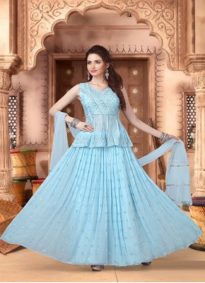 Honourable Blue Jacket Style Lehngha Choli