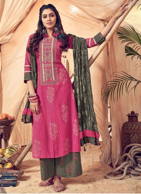 Honourable Embroidered Polly Cotton Pink Designer Palazzo Suit