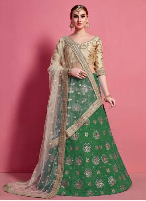Honourable Green Embroidered Art Silk A Line Lehenga Choli