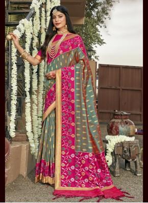 Honourable Grey Weaving Banarasi Silk Bollywood Saree