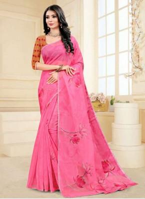 Honourable Hot Pink Festival Printed Saree