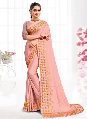 Honourable Pink Swarovski Satin Traditional Saree