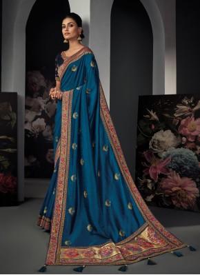 Honourable Silk Blue Resham Designer Traditional Saree