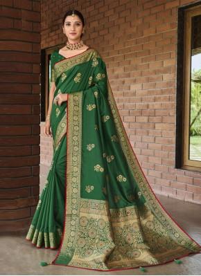 Honourable Silk Green Weaving Designer Traditional Saree