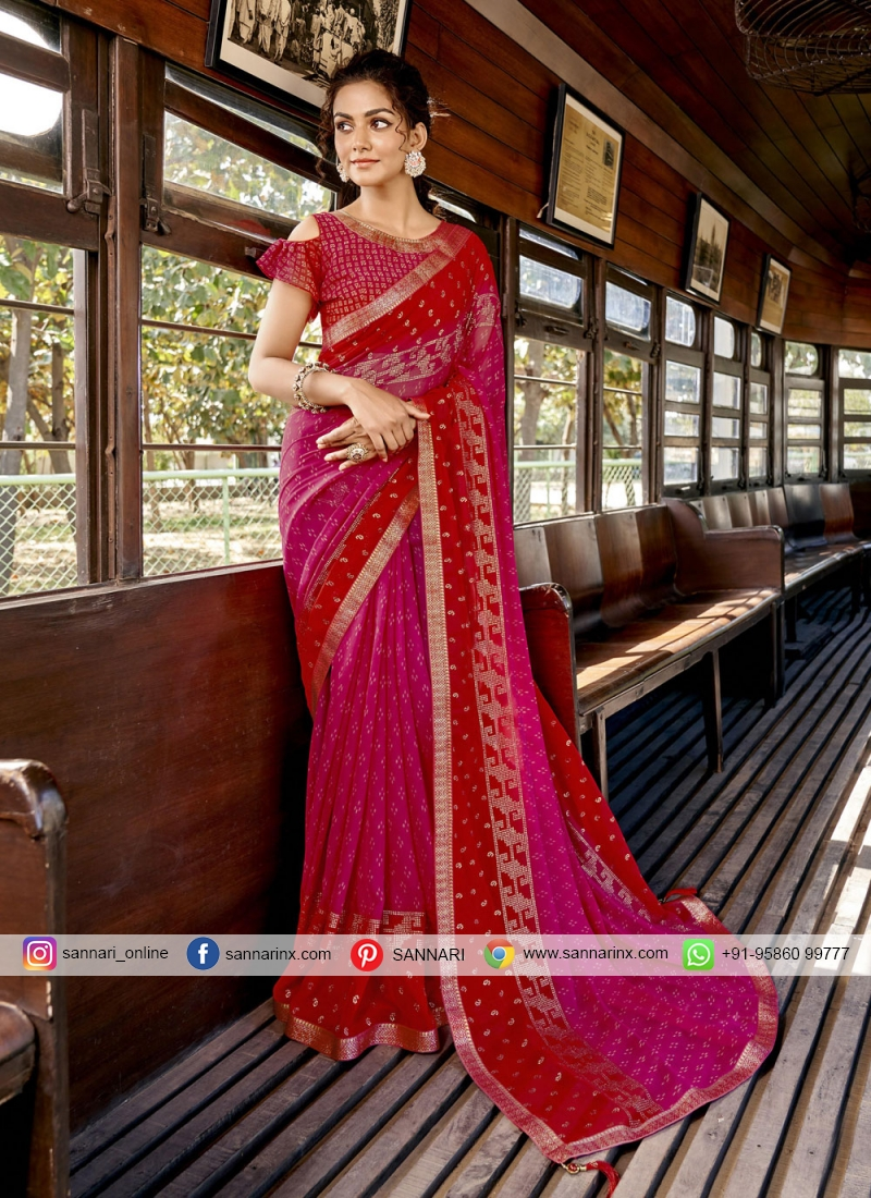 Hot Pink and Red Festival Printed Saree