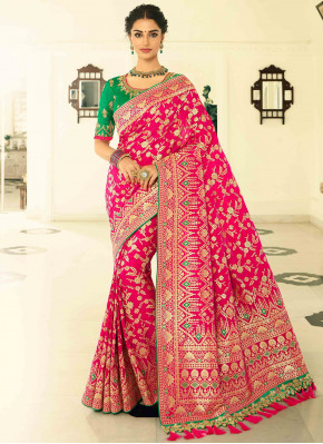 Hot Pink Banarasi Silk Traditional All Over Woven