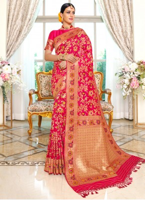 Hot Pink Banarasi Silk Weaving Designer Traditional Saree
