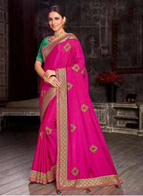 Hot Pink Fancy Fabric Patch Border Designer Saree