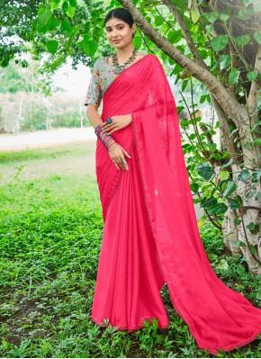 Hot Pink Faux Chiffon Classic Designer Saree
