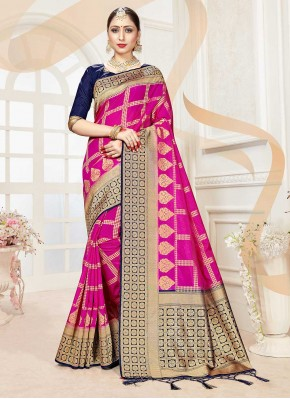 Hot Pink Festival Banarasi Silk Traditional Saree