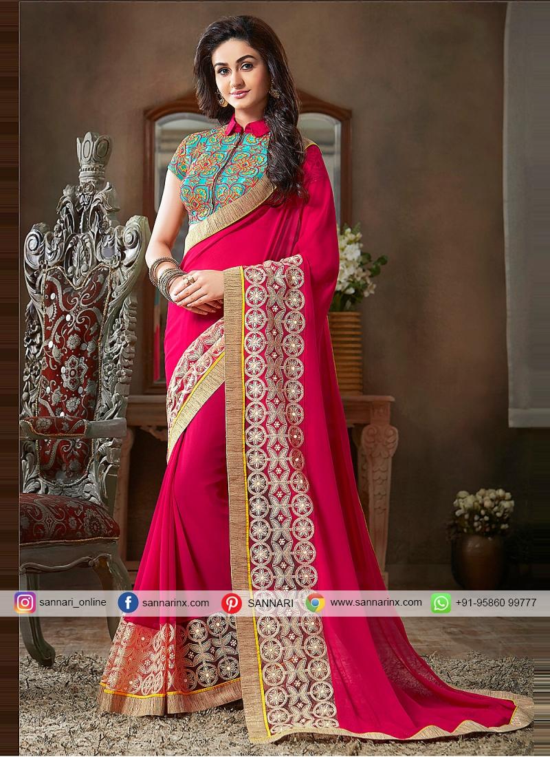Hot Pink Lace Ceremonial Classic Designer Saree