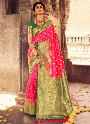 Hot Pink Mehndi Banarasi Silk Designer Traditional Saree