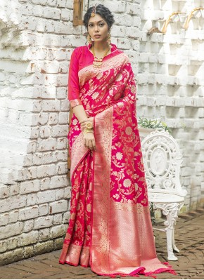 Hot Pink Mehndi Traditional Designer Saree