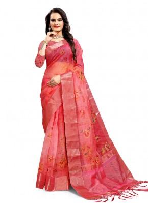 Hot Pink Organza Printed Saree