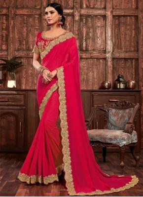Hot Pink Poly Silk Designer Traditional Saree