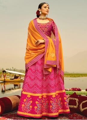 Hot Pink Sangeet Silk Readymade Lehenga Choli