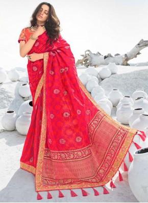 Hot Pink Silk Resham Classic Saree