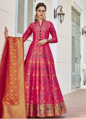 Hot Pink Wedding Readymade Anarkali Suit