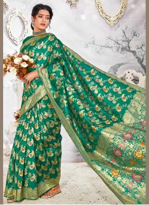 Hypnotic Banarasi Silk Sea Green Weaving Designer Traditional Saree