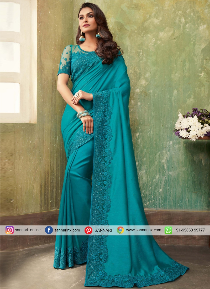 Hypnotic Blue Embroidered Bollywood Saree