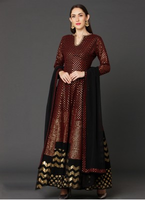 Hypnotic Brown Embroidered Trendy Salwar Kameez